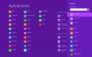 Ventana de aplicaciones y búsqueda en Windows 8