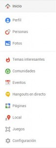 Menu Google Plus